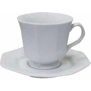 XICARA DE CAFE OITAVADA COM PIRES DE PORCELANA